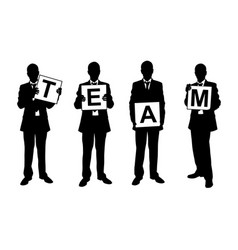Set of people holding team sign vector