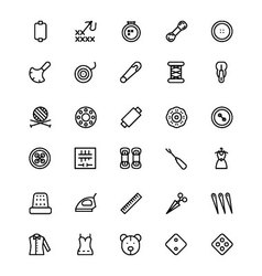 Sewing line icons 3 vector