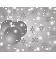Silver christmas background with christmas balls vector