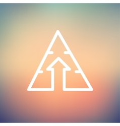 Triangle arrow up thin line icon vector image