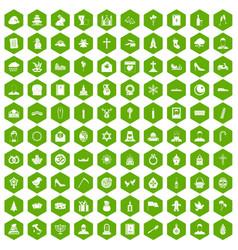 100 church icons hexagon green vector
