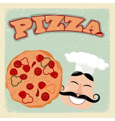 Vintage pizza postcard vector