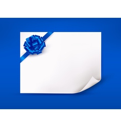 Blue background with sheet of paper and blue gift vector image