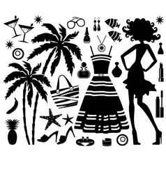 Fashionable set of tropical rest with silhouette o vector