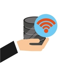 hand holds data wifi connected icon vector image