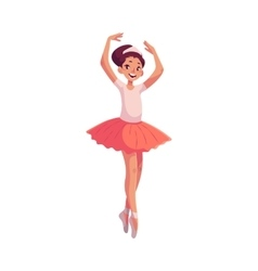 Little ballerina in pink tutu standing on toes vector