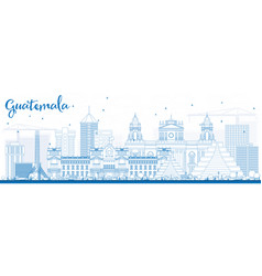 Outline guatemala skyline with blue buildings vector