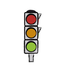 Semaphore traffic light post vector