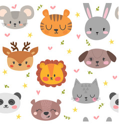 Cute seamless pattern with funny animals smile vector