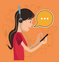 Girl mobile headphones chat communication social vector