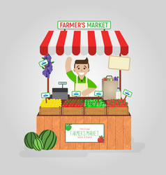 Local market farmer selling diary fruits vector