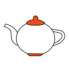Color silhouette image cartoon porcelain tea vector