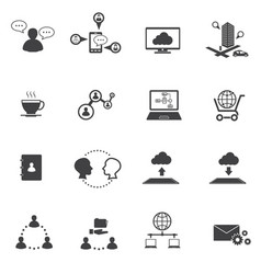 Big data icons set business and social network vector