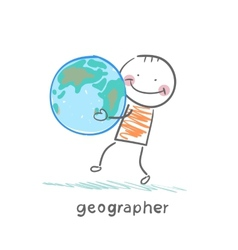 geographer keeps the planet in the hands of vector image