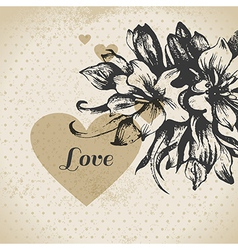 Wedding floral love card vector
