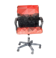 Polygonal style of red and black chair on white vector
