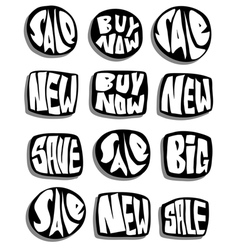 Marketing sale slogan button collection over white vector