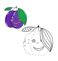 Educational game connect dots draw plum vector image