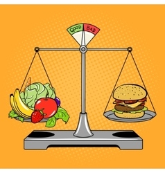 Balance scales with food comic book style vector