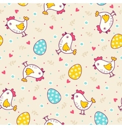 Seamless easter pattern with chicken and eggs vector