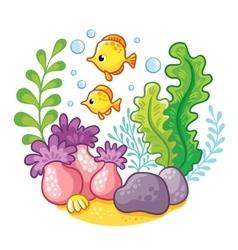 artoon underwater life vector image vector image