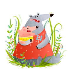 Bear young mother or nanny with infant vector