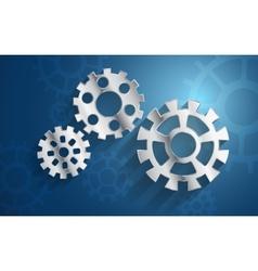Blue background set metal gear mechanism vector