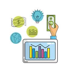 Business statistics bar inside computer and cash vector