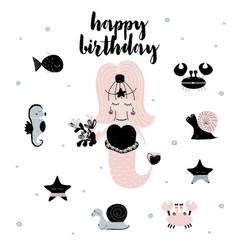 Card with calligraphy lettering happy birthday and vector