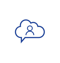 cloud user icon computing concept vector image
