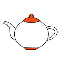Color silhouette image cartoon porcelain tea vector