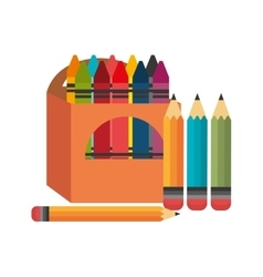 Crayons box four pencil graphic vector