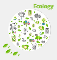 ecology poster with small green and grey icons vector image vector image