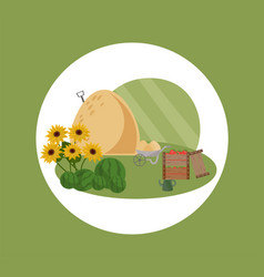 Farm hay flat style summer vector
