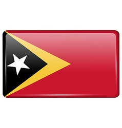 Flags East Timor in the form of a magnet on vector image vector image