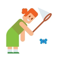 Girl tries catch butterflies with net cute cartoon vector