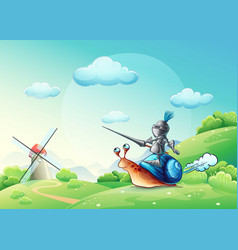 merry knight attacking the mill on the cochlea vector image vector image