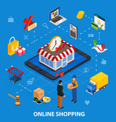 online shopping isometric concept with related vector image vector image