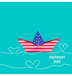 Patriot Day background Paper boat with heart wave vector image vector image