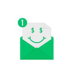 rich emoji in green letter notification vector image vector image