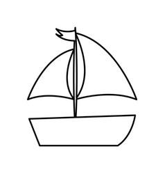Sailboat sea isolated icon vector