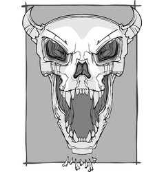 screaming skull vector image