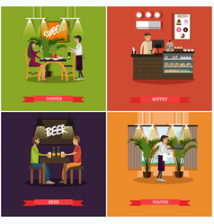 Set of pub concept posters in flat style vector