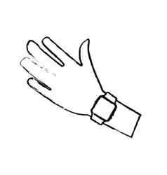 Sketch hand with smart watch wearable technology vector