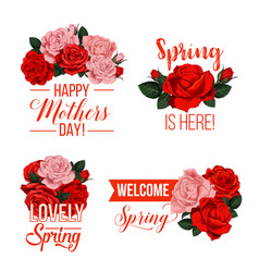 Springtime or mother day floral icons vector