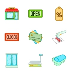 Store icons set cartoon style vector