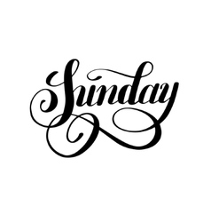 Sunday day of the week handwritten black ink vector