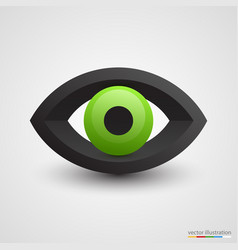 Three-dimensional green eye on white background vector