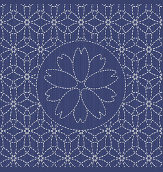 traditional japanese needlework sashiko with vector image
