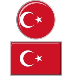 Turkish round and square icon flag vector